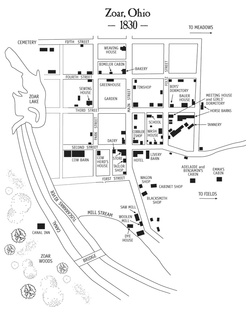 Town Map of Historic Zoar, Ohio